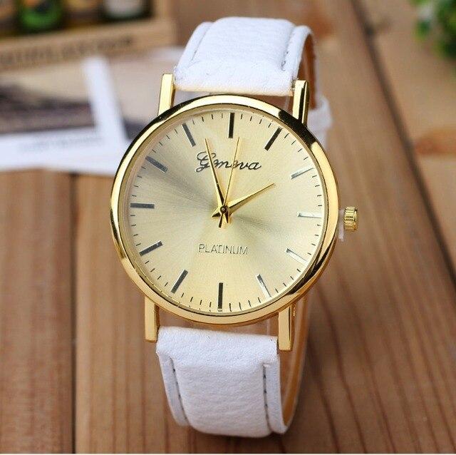 6baf7786a35 New Golden Genebra Relógio de Platina Moda Mulher PU de Couro Casual  Vestido mulheres relógio de