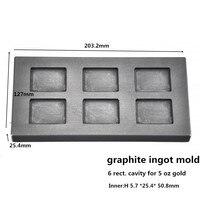 6 Rect Cavities Graphite Ingot Mold For 5 Oz Gold Bar Casting 1pcs Gold Melting Graphite
