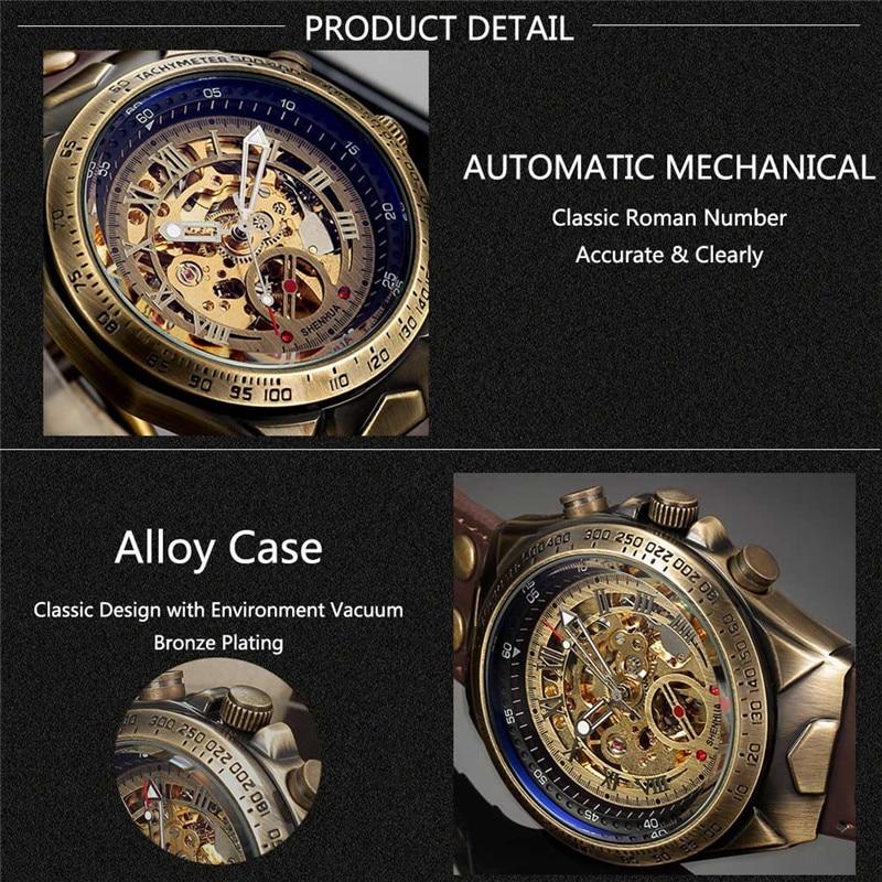 HTB1 hY2XdjvK1RjSspiq6AEqXXae Men Watch Skeleton Automatic Mechanical Male Clock Top Brand Luxury Retro Bronze Sport Military Wristwatch relogio Masculino