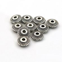 50pcs Antique Silver UFO Metal Spacer Loose Beads For Jewelry Finding Bracelet Necklace Handmade DIY Accessories