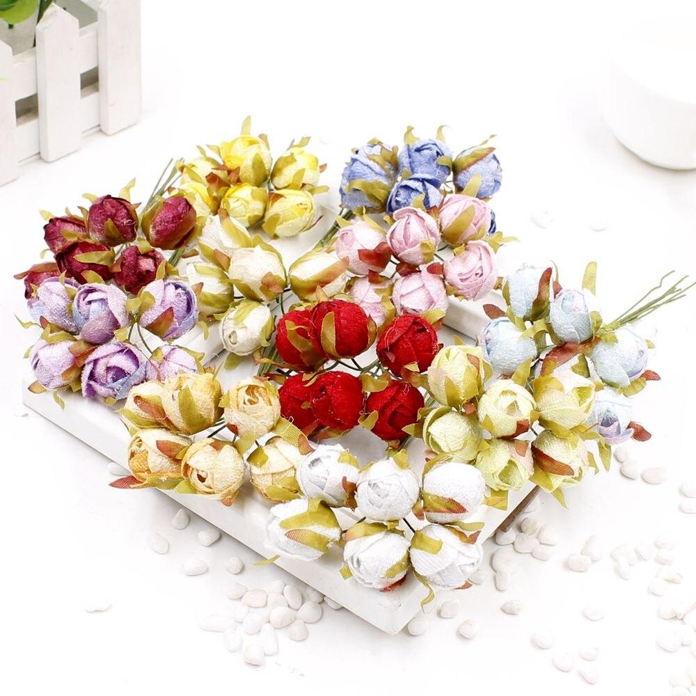 6 pcs / lot artificial flower home decorative buttons rose flower silk diy material wreath bridal wrist flower wedding decoratio