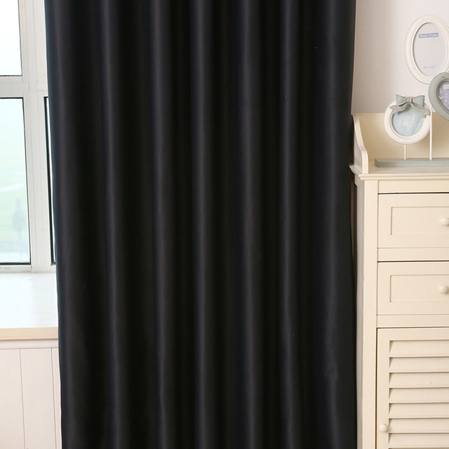 Full blackout solid color cloth curtains Simple style black and ...