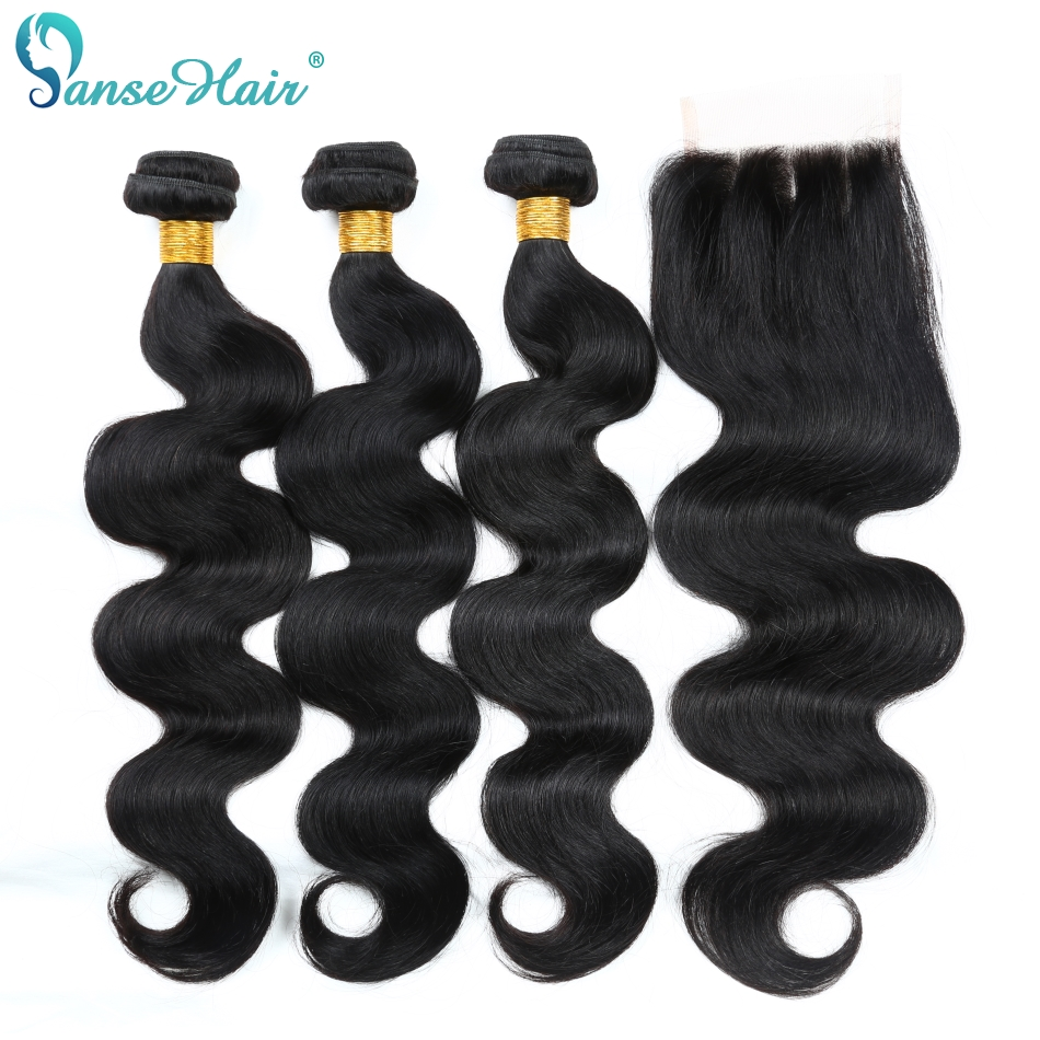 Panse Hair Malaysian Body Wave Human Hair 3 Bundles With Lace Closure - Menneskehår (sort)