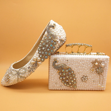 Wedding-Shoes Paty High-Heels White Matching-Bags Pearl Peacock Bride Women Ladies Baoyafang