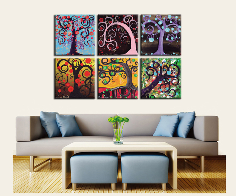 Colorful Abstract Tree 4pcs Canvas Print Oil Painting
