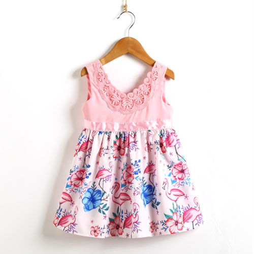 Flower Baby Girls Kids Flamingo Dress Lace Tulle Backless Sundress Party Dresses for Girls kids baby girls party dress clothing sleeveless lace tulle flower gown cute mini new dresses girls sundress 1 6y