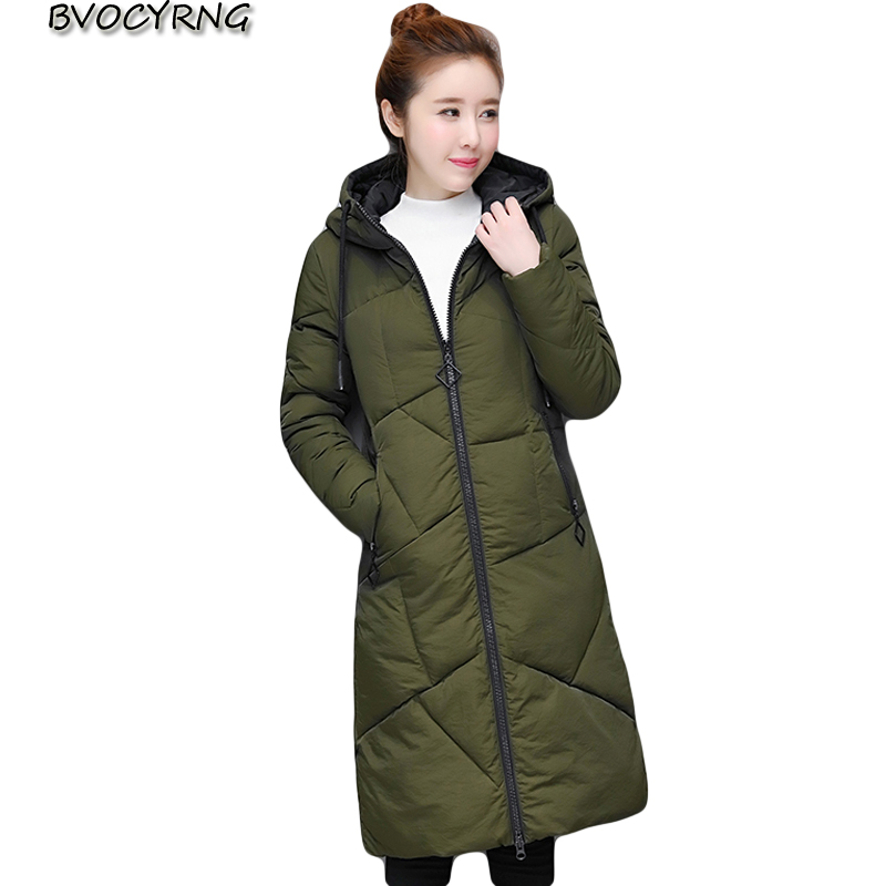 Winter Women Jacket 2017 New Women Hooded Warm long Down Cotton Coat Solid color Slim Big yards Female Parkas Q987 winter jackets new women slim warm wadded jacket long sleeve down parkas hooded cotton padded big yards m 3xl long coat female