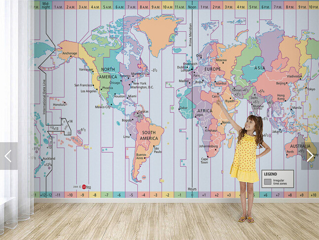 Custom photo wallpaperworld time zone map 3D wallpaper for living