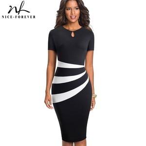Image 1 - Nice robe fourreau pour femme, Illusion doptique Vintage, robe à blocs de couleurs léopard, travail, soirée daffaires, moulante, pour bureau, B498