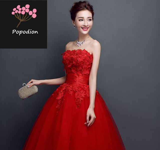 long style red lace strapless evening dresses formal party prom ...