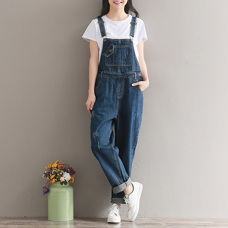 2019  Artistic wash denim cotton suspenders for girls with wide legs (9)