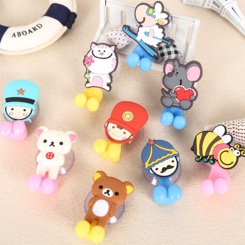 Multifunction Cute Cartoon Animal Bathroom Toothbrush Holder Suction Cups Hook Vacuum Strong Sucker Toothbrush Cover Hanger image