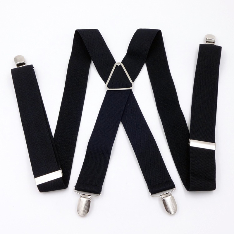 OnnPnnQ Men 4 Clips Suspenders Fashion High Quality Adjust Elastic X-back Braces Male Pants Fashion Solid Clothes Accessories