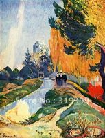 100% handmade museum quality Oil Painting Reproduction,Les Alyscamps by paul gauguin,free DHL Shipping,oil paintings