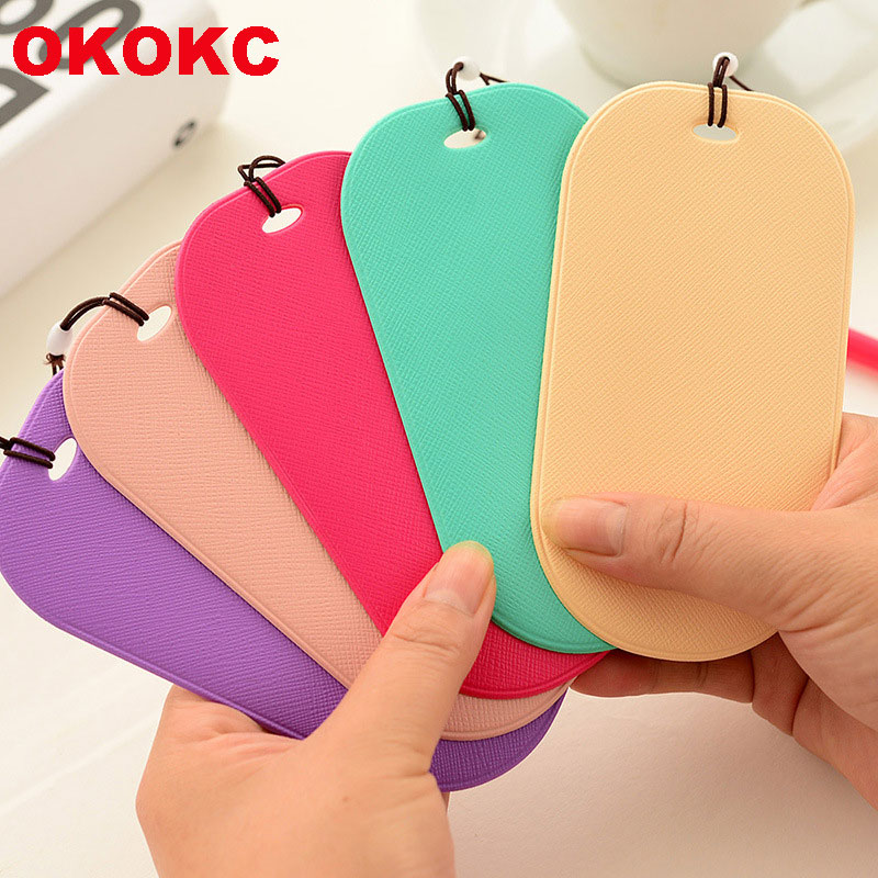 902eb0e4e209 OKOKC Colorful Luggage Tags PVC Leather Passport ID Address Holder Travel  Label Straps Accessories