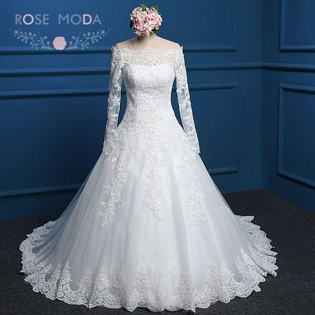 08dba641442 Rose Moda Lace Winter Wedding Dress Long Sleeves Wedding Dresses 2019  Vintage Plus Size