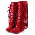 2016 de Invierno Botas de Mujer Borla de La Manera Rodilla botas de señora Causales Pisos Botas de Nieve Larga Atractiva Más El tamaño 35-43 8d41