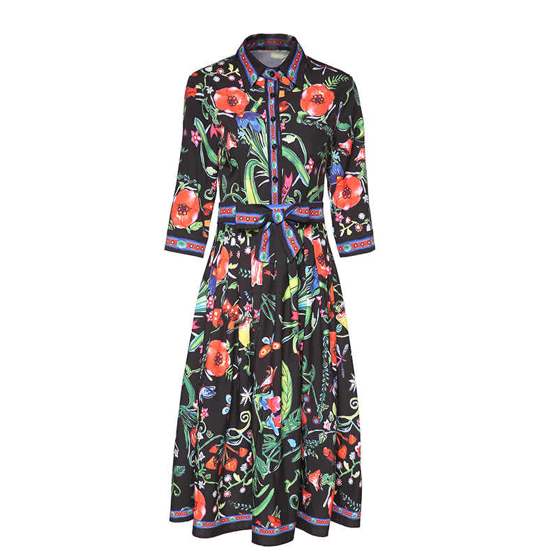 Turn Down Collar Bow Dress Elegant Half Sleeve Flowers Print Knee Length  Midi dress 2019 Runway High Quality Womens Dresses