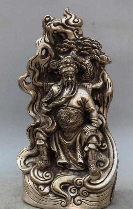 Details about 14 Chinese Silver Seat Guan Gong Yu Warrior God knight general Sculpture Statue