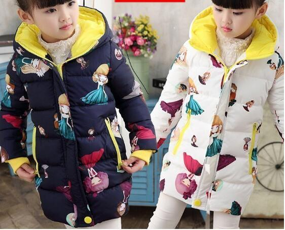 2016 hot New Winter Boys Cool Glasses Down Jackets Kids Printing Hooded Warm Coat Girls Outerwear Kids Clothes