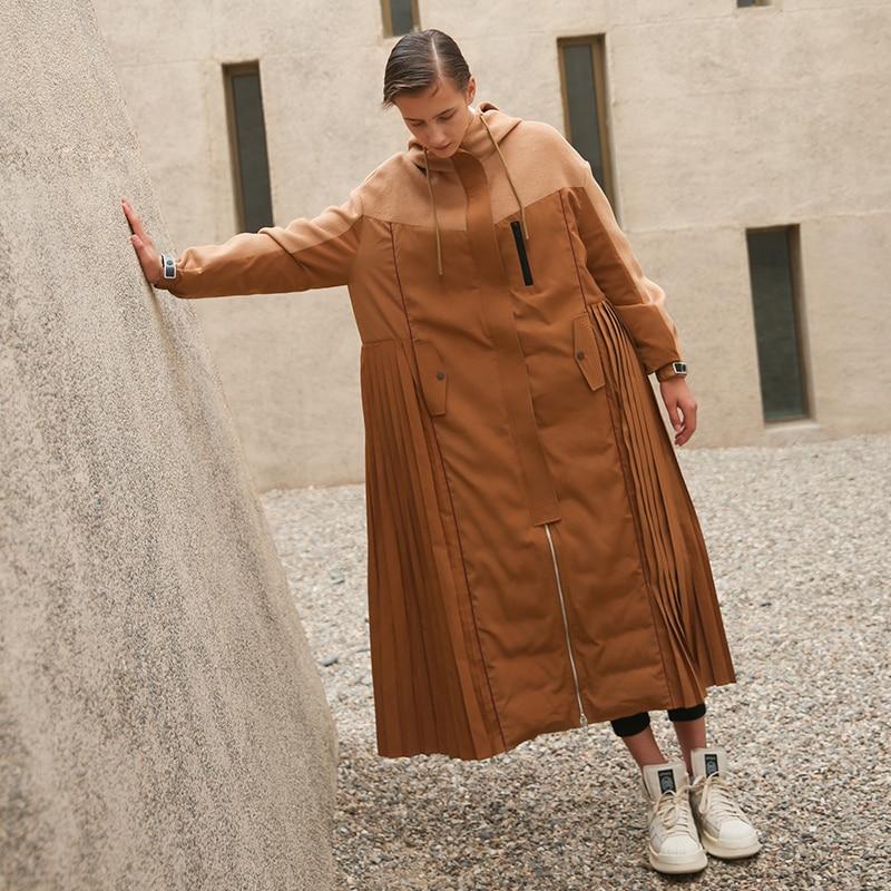 IRINAW197 2018 Новинка зимы коллекция оригинальный дизайн негабаритных длинная юбка Тип плиссированные дно белая утка подпушка куртка пальто для