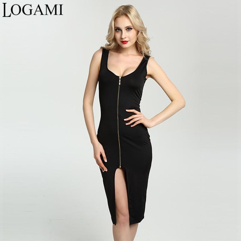 Summer dress 2017 de la mujer atractiva sin mangas bodycon dress dividir zipper