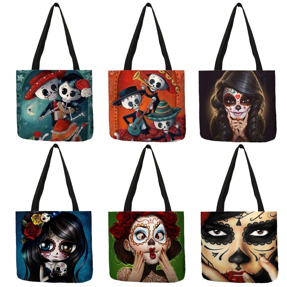 Unique Sugar Skull Print Tote Bags For Women Traveling Shopping Bags Lady Printed Handbags