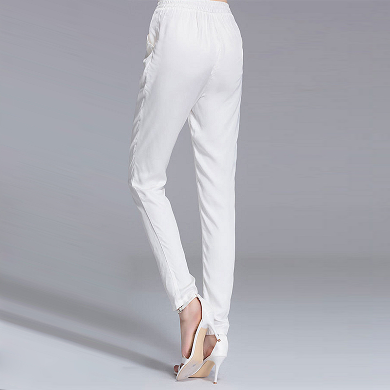 228d69b8a0e 92% Silk Pants Women Simple Design Solid Elastic Waist Pockets Harem  Trousers New Fashion Europe and American Style 2018-in Pants   Capris from  Women s ...