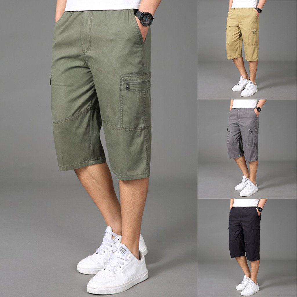 Sports Pants Gym Cargo Beach Shorts Stylish Mens Seven-Point Multi-Zip Multi-Pocket Built-in Corded Cargo Shorts
