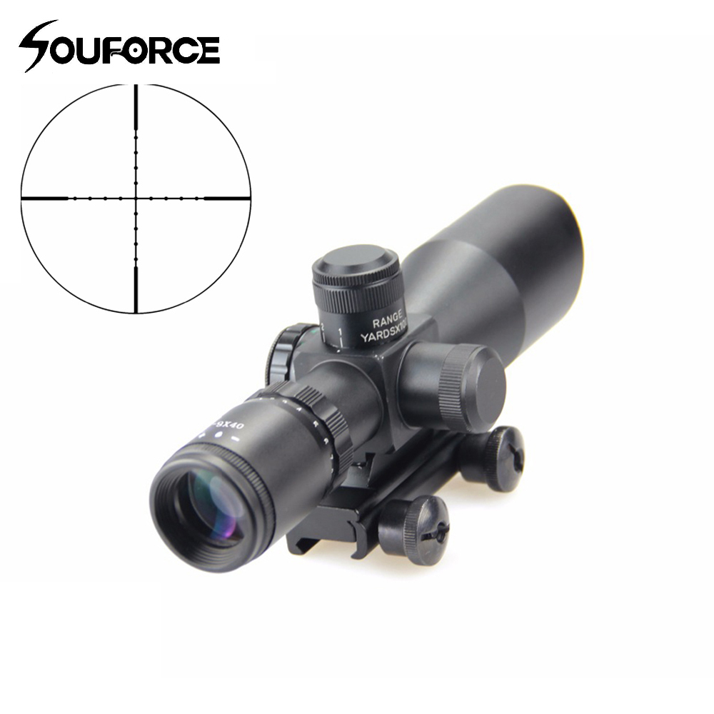 Tactical Scope Riflescope 3-9x40 Green/Red Mil Dot Reticle Riflescope Waterproof Optical Sight with Nitroge for Hunting Airsoft tactial qd release rifle scope 3 9x32 1maol mil dot hunting riflescope with sun shade tactical optical sight tube equipment