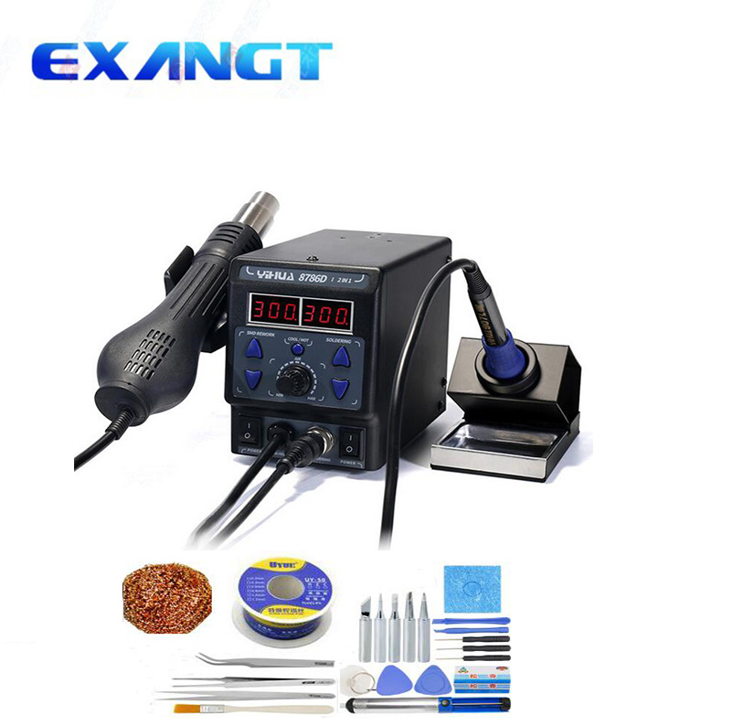 High quality YIHUA 8786D 2 in 1 Upgrade SMD Rework Station Soldering Station Electric Soldering Iron