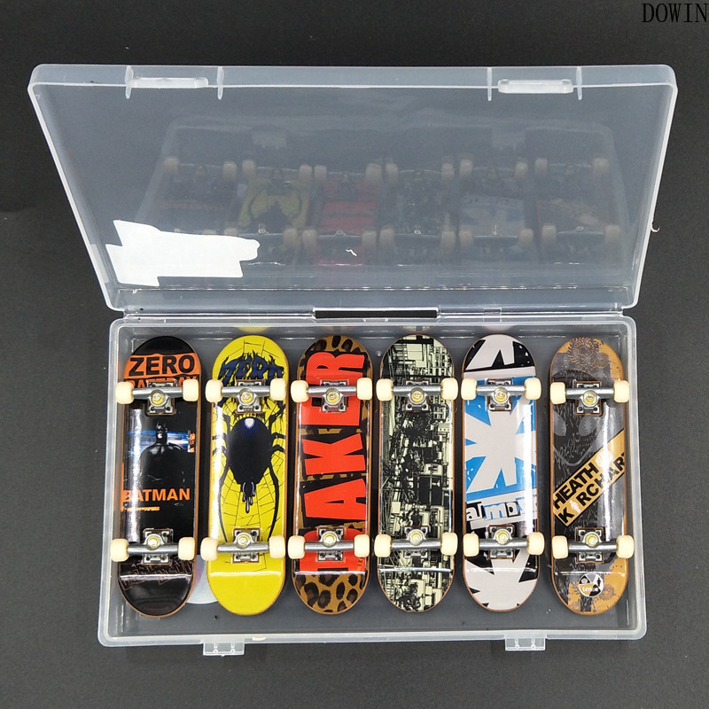 6pcs/set Creative Graffiti Finger Skateboard Mini Plastic Fingerboard Anti Stress Hand Wrist Finger Exercise Toy Child Gift