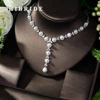 HIBRIDE Brilliant AAA Cubic Zirconia Pendant for Women Jewelry White Gold Color Necklace Party Accessories N 1002