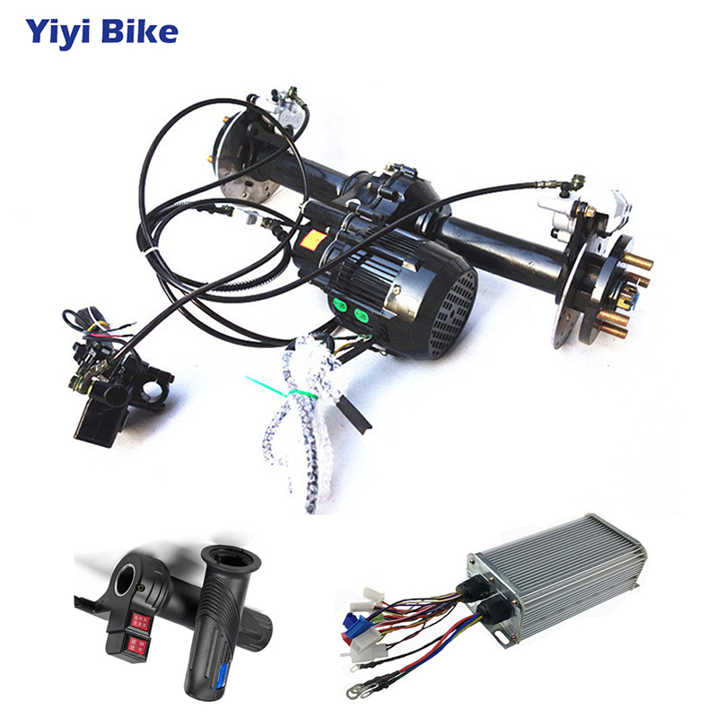 80cm 48V <font><b>60V</b></font> Electric Rear Axle <font><b>Motor</b></font> 500W- 1200W DC Differential <font><b>Motor</b></font> 24Mosfet Controller Twist Throttle for Buggy ATV Kart image