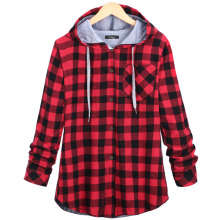 Oversize sweatshirts plaid hooded hoodies button autumn coat sleeve casual cotton