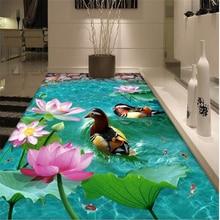 Chinese lotus flower garden bathroom living room 3D floor waterproof self-adhesive wallpaper paper stickers paper 3D wall paper