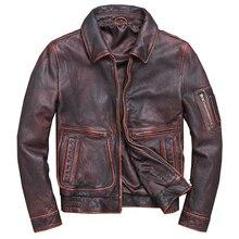 дешево!  Старинные мужские куртки из натуральной кожи и пальто мотоцикла настоящая корова коровьей зимняя ве