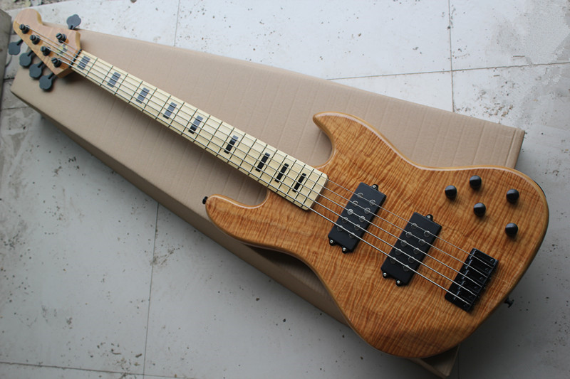 free shipping China Custom Guitar High Quality Tiger stripes maple Top 5 string electric bass with active pickup   1117free shipping China Custom Guitar High Quality Tiger stripes maple Top 5 string electric bass with active pickup   1117
