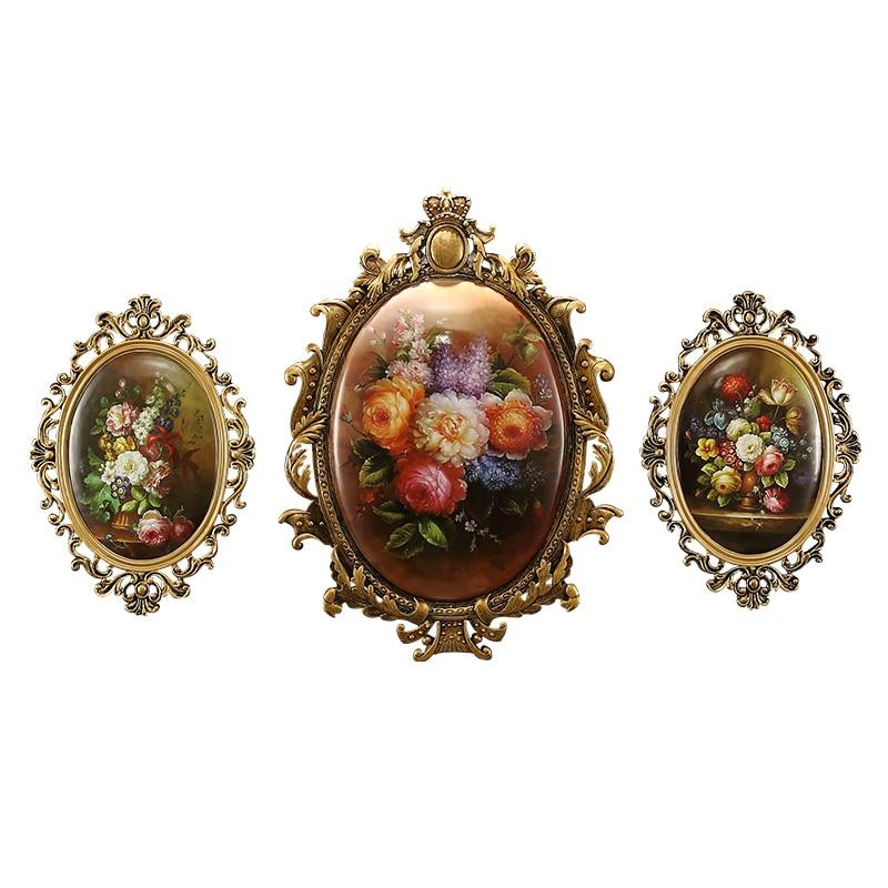 Statues européennes rétro miroirs peinture 3D mur fond décoration artisanat tenture murale résine salon décoration murale R150