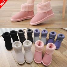 Winter yarn female snow boots shoes woman genuine leather boots slip resistant short plus velvet cotton padded women shoes