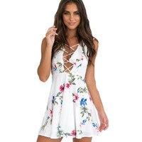 Refeeldeer Deep V Neck Sexy Summer Beach Dress 2017 Sleeveless Ruffles Bandage Short Party Dress Women