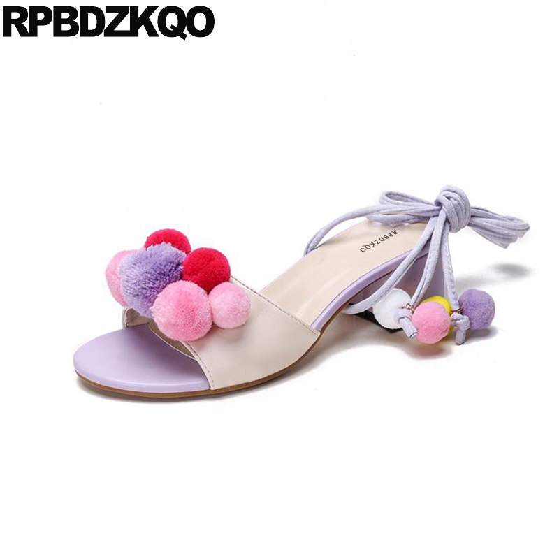 Ladies Strap Up Sandals High Heels Embellished Pom Pom Women Thick Square Purple Shoes Cute Kawaii Pumps Holiday Fluffy Block pom pom trim tropical swim cover up shorts