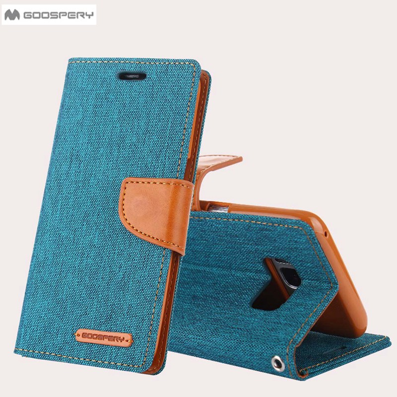 Original GOOSPERY Canvas Cloth Skin Wallet Flip Cases For Samsung Galaxy S8 Plus S6 S7 Edge Hit Color Card Slot Holster cover ...