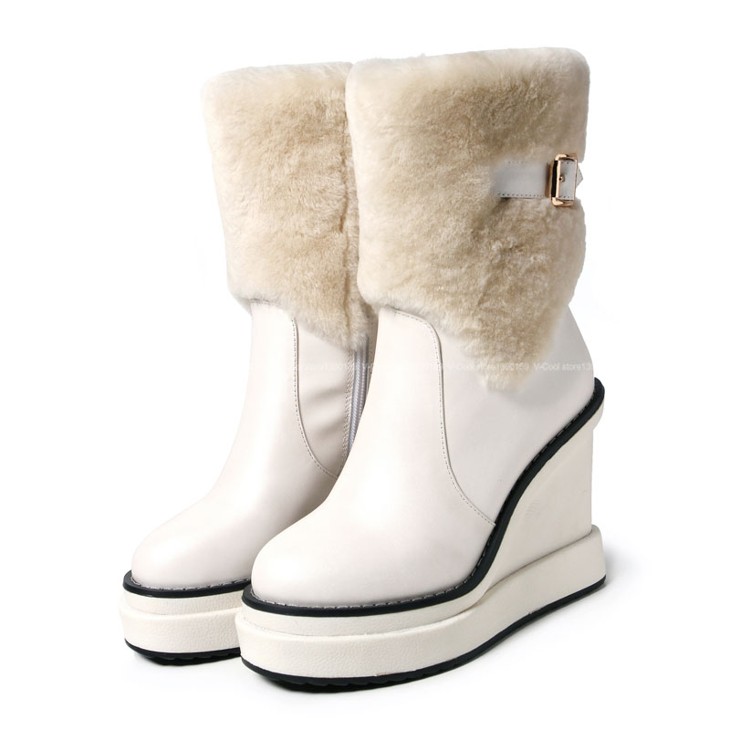 2015 Women Good Quality Snow Boots Female Genuine Leather Winter ...
