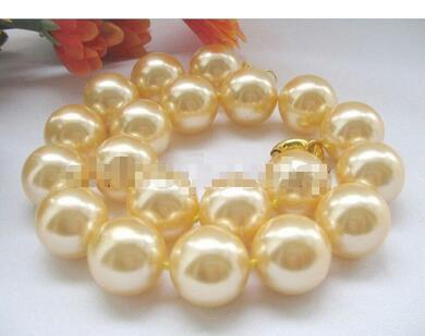 Parfaitement beau collier de perles 20mm doré parfait rond de la mer du sud collier de perles 18 ''femmes cadeau word 925 bijoux en argent