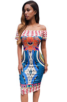 Estate Vestito Da Partito di Stile Tradizionale Africana Stampa Off Spalla Abito Midi Donne Sexy Senza Spalline Bodycon Abiti D'epoca 61195