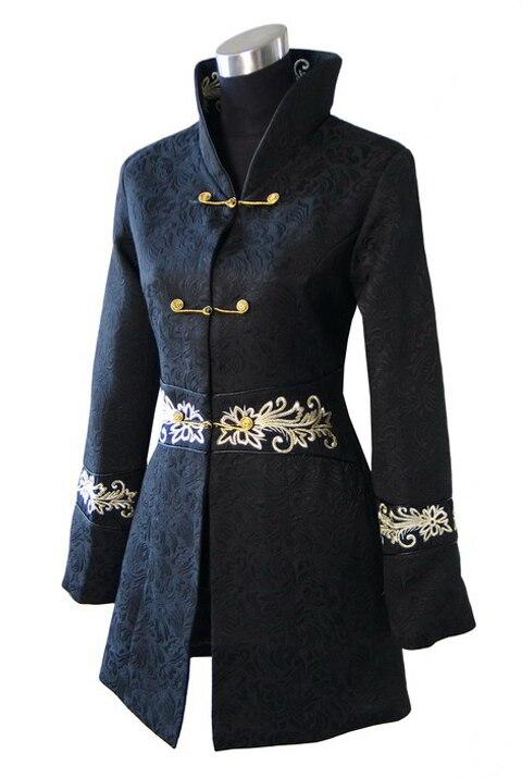 Envío libre negro de las mujeres chinas de algodón largo abrigo de invierno chaq