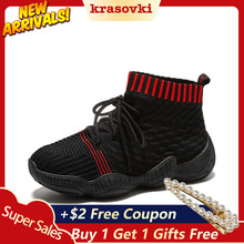 Krasovki New Sneakers Women Breathable Booties Spring Autumn casual sneakers knit breathable Lace up Sock Boots Summer