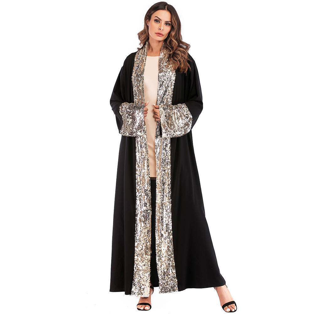 Women   Trench   Coat Sequins Stitching Middle East Muslim Robe Female Elegant Cardigan with Sashes Women Outerwear Long Coat TA1681