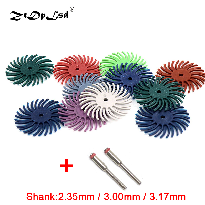 ZtDpLsd 10Pcs Brush +2 Pcs Mandrel Mixed Grit Coarse Soflex Discs Dental Composite Finishing Polishing Bur Abrasive Accessories
